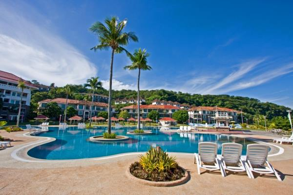View of pool and apartments at Canyon Cove in Nasugbu, Batangas, Philippines