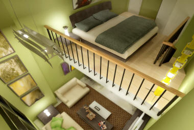 artist perspective of a one bedroom loft